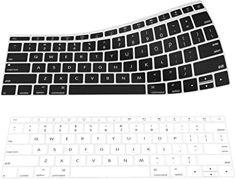 MoKo Macbook Pro 12/13 Cubierta del Teclado - [2-PZS] Suave Silicona Keyboard Skin Protector Cover (Apta US Teclado SÓLO) - Negro & Blanco
