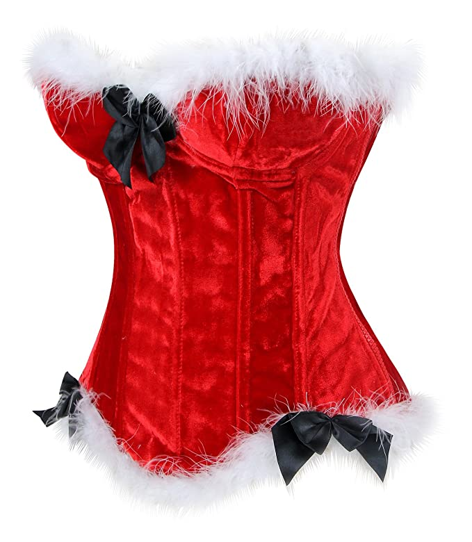 69286d6f4f0 Amazon.com  Charmian Women s Mrs Santa Claus Costume Christmas Push Up Bustier  Corset Top  Clothing