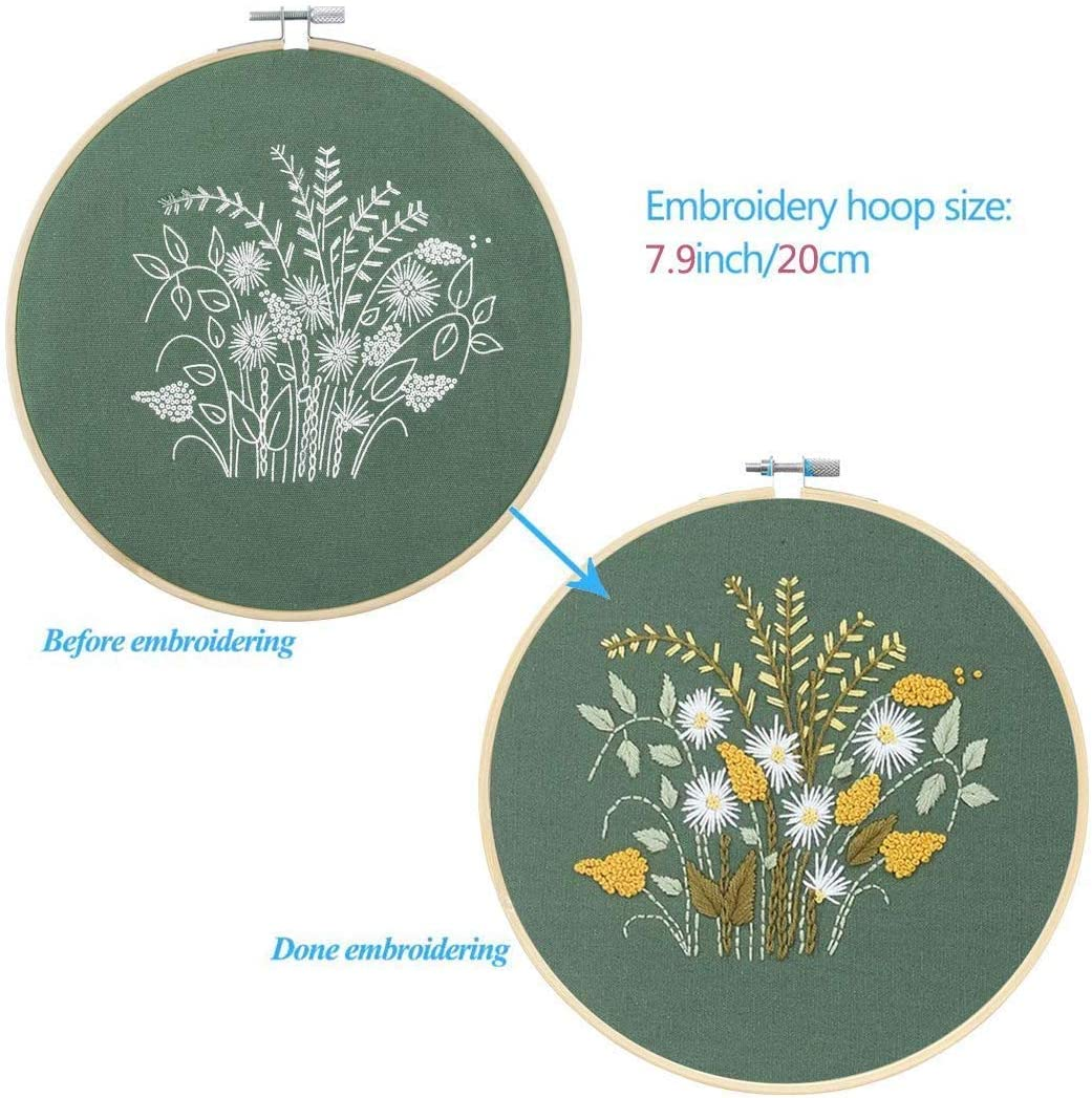Full Range of Stamped Embroidery Kits with 5 Pcs Embroidery Cloth with Pattern,1 Pc Bamboo Embroidery Hoop,Color Threads Tools Kit Everydlife 5 Pack Embroidery Starter Kit with Pattern for Beginners