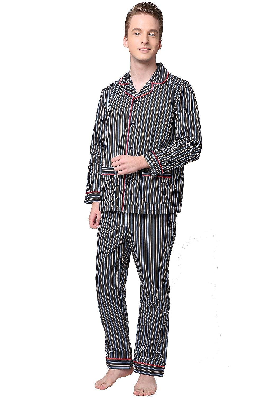 Godsen Men's 100% Cotton Yarn Dyed Pajama Sleepwear Set Stripe) 8722026