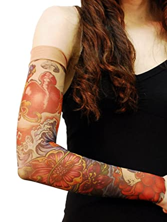 Wild Rose Unisex Sparrows Sugar Skull Single Tattoo Mesh Sleeve