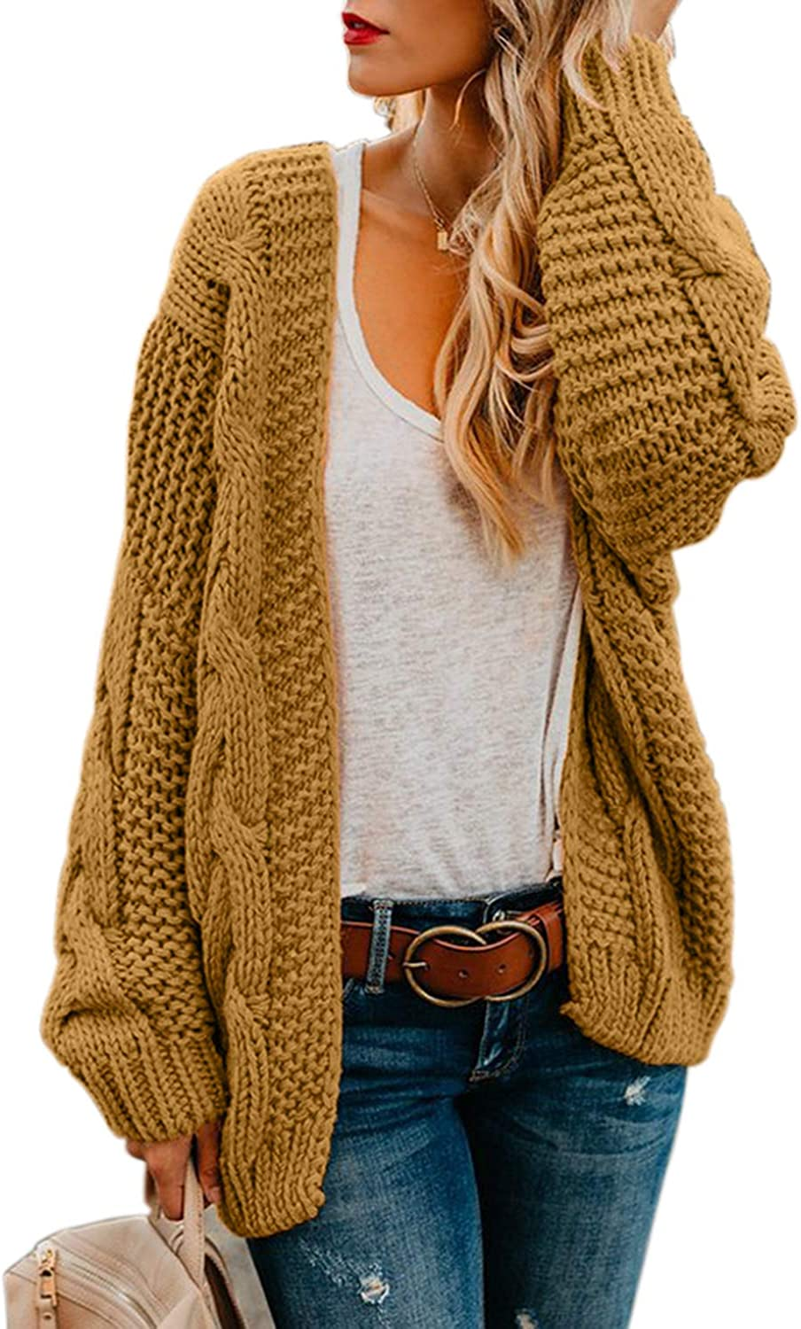 Dokotoo Womens Colorful Striped Open Front Chunky Long Cardigan Sweater