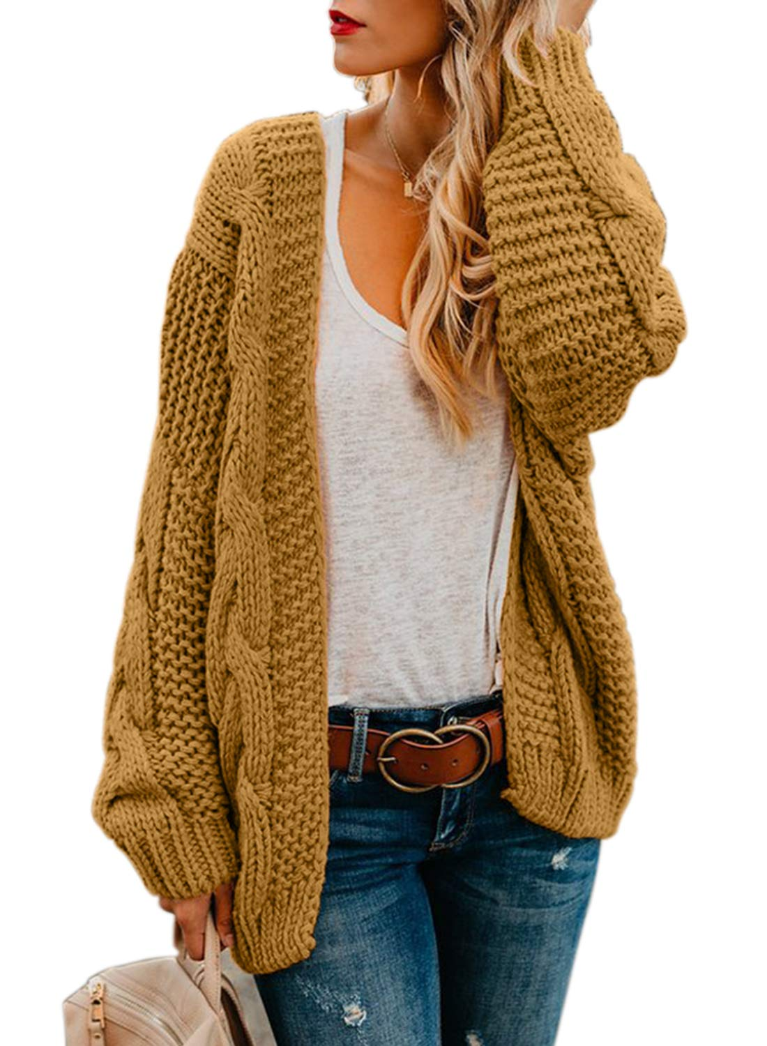 Happy Sailed Womens Open Front Chunky Wide Knitted Cardigan