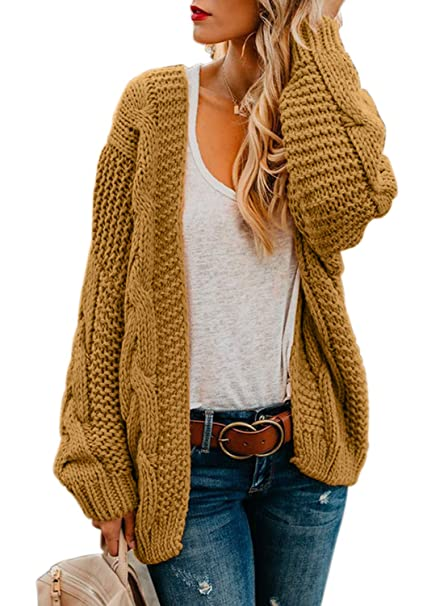 Astylish Women Open Front Long Sleeve Chunky Knit Cardigan Sweaters Loose  Outwear Coat S,XXL
