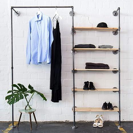 Various Kleiderschrank Im Industrial Design Kleiderstander Offener Schlafzimmer Schrank Wand Garderobe Im Flur Schwarz Stabil Aus Metall