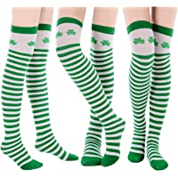 77eaaecd819 Felizhouse St Patricks Day Stockings Scarf Costume Set for Women Green  White Shamrock Striped Long Over Knee Thigh High ...