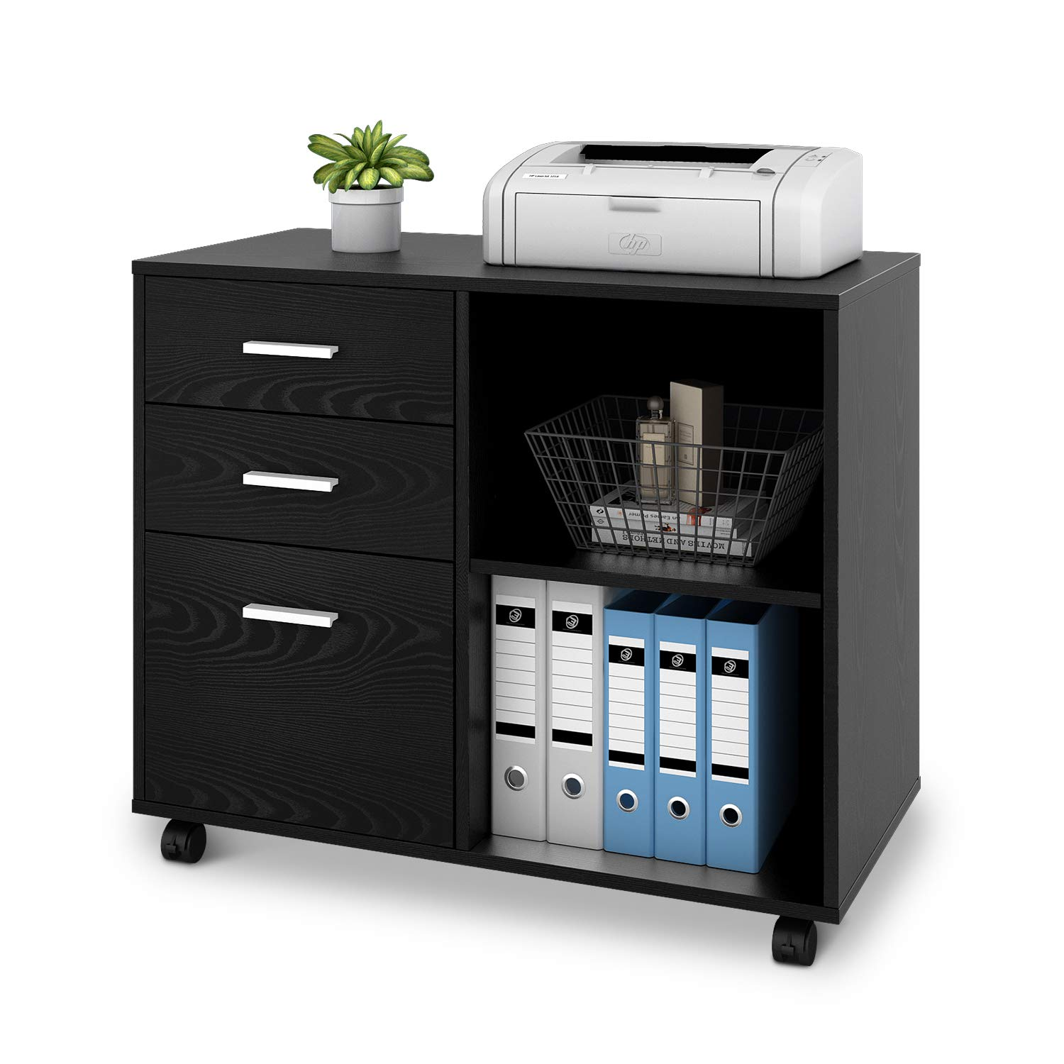 DEVAISE 3 Drawer Lateral File Cabinet,Modern Wood Printer Stand with Wheels, Open Storage Shelves for Home Office (Black with Shelf)