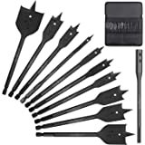 SEDY 11-Pieces Spade Drill Bit Set, Paddle Flat Bits with Extension for Woodworking, Industrial Grade Carbon Steel Black…