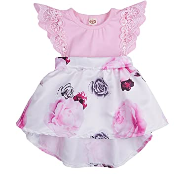 747dd57b2ff Infant Toddler Baby Girl Floral Dress Lace Ruffle Sleeve Outfit Family  Clothing (Pink