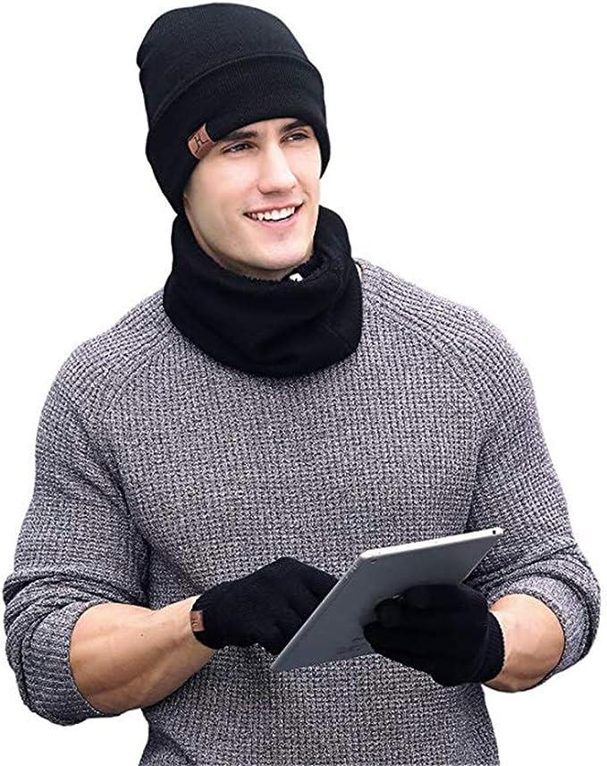 Aisprts Gorro Bufanda Guantes Set de Invierno para Hombre y Mujer de Bufanda Conjunto de Guantes de Pantalla Táctil Punto Bufa Sombrero de Invierno Gorras Con Bufanda (Negro): Amazon.es: Ropa y accesorios