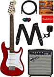 """Fender Squier Short Scale (24"""") Stratocaster Learn-to-Play Bundle with Frontman 10G Amp, Cable, Tuner, Strap, Picks, Fender Play Online Lessons, and Austin Bazaar Instructional DVD - Transparent Red"""