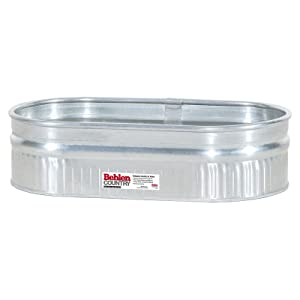 Behlen Country ST214 Shallow Galvanized Steel Round End Stock Tank, Approximately 49 Gallons