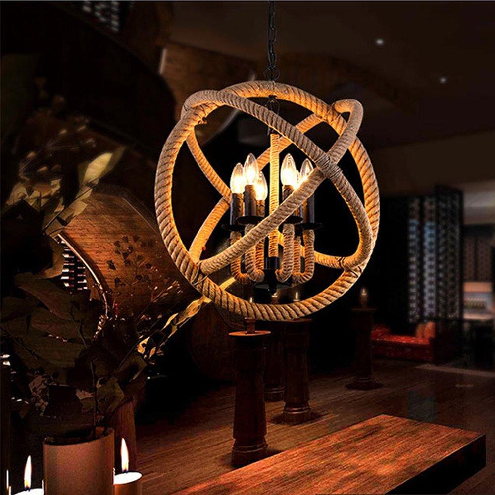 Ladiqi Industrial Hemp Rope Ball Chandelier Retro Hanging Island Pendant Light Island Light