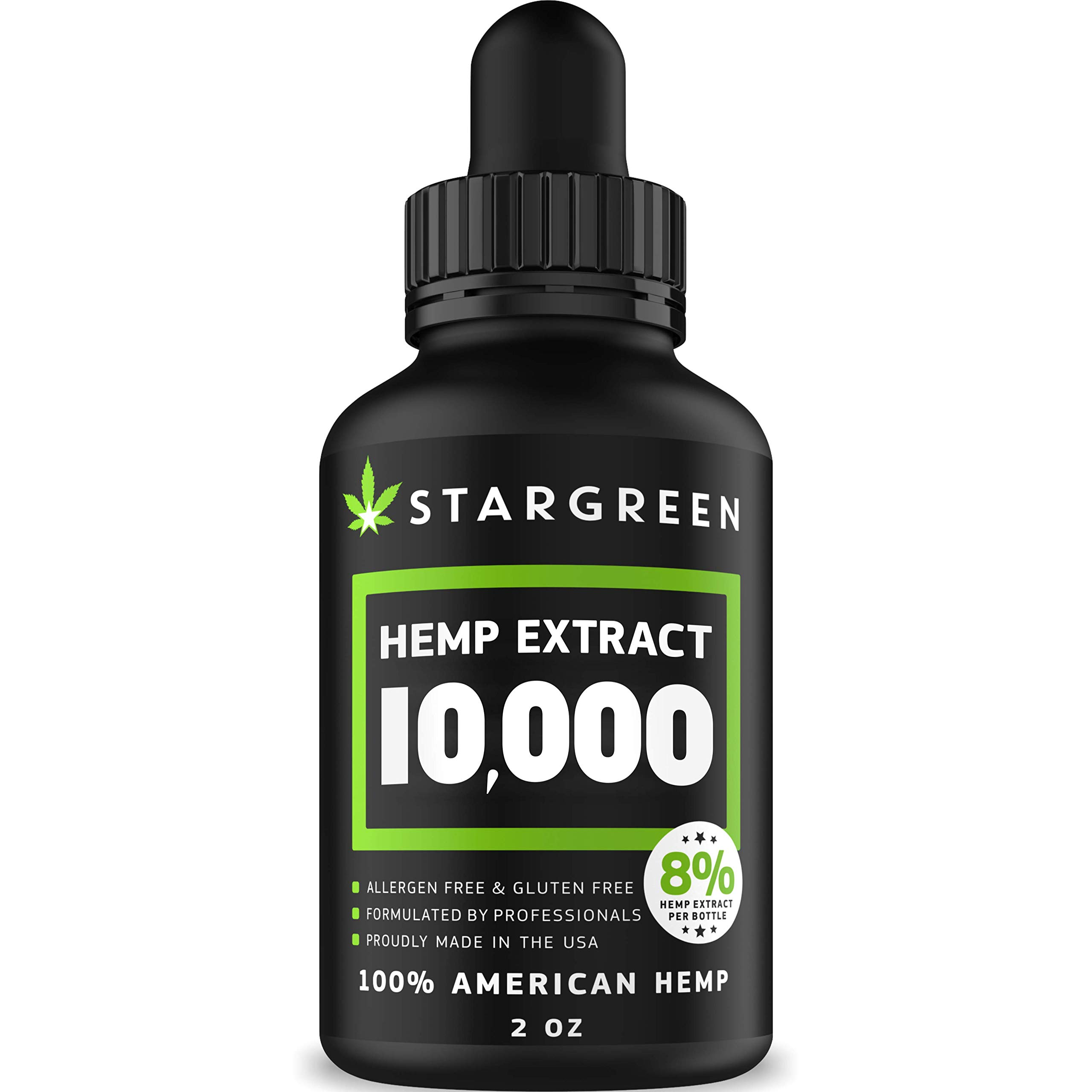 Hemp Oil for Pain Relief - 10000 MG - Vitamin D, E & Omega 3, 6, 9 - All Natural Pain, Anxiety & Stress Relief - Made in USA - Anti-Inflammatory, Hip & Joint Support - Provides Natural Calm Sleep by Stargreen