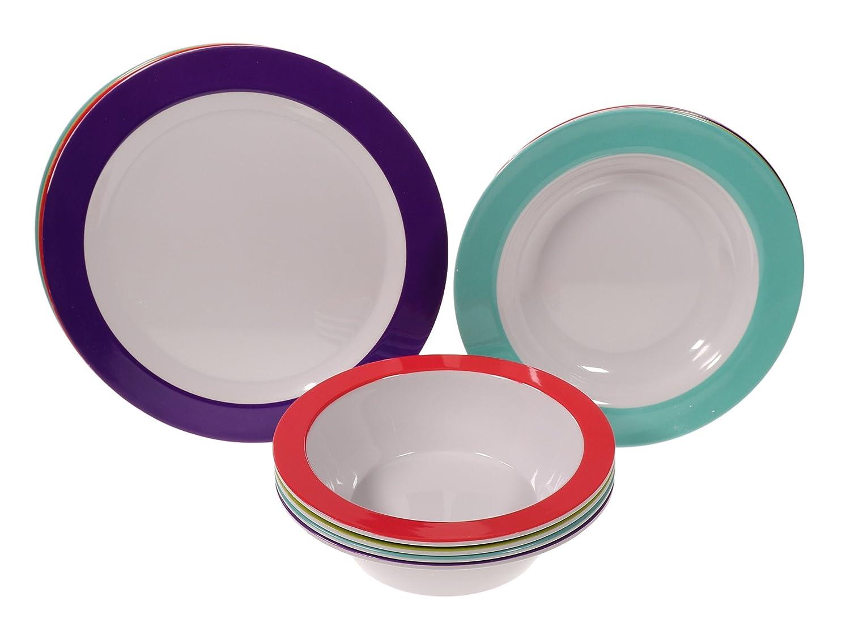 Amazon com handi ware 12 piece multicolor classic wide rim melamine set indoor outdoor dinnerware set service for 4 by unity assorted colors