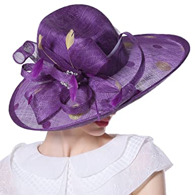 295c3f4d0 June's Young Women Ladies Hats Church Hats Party Show Sinamay Yellow ...