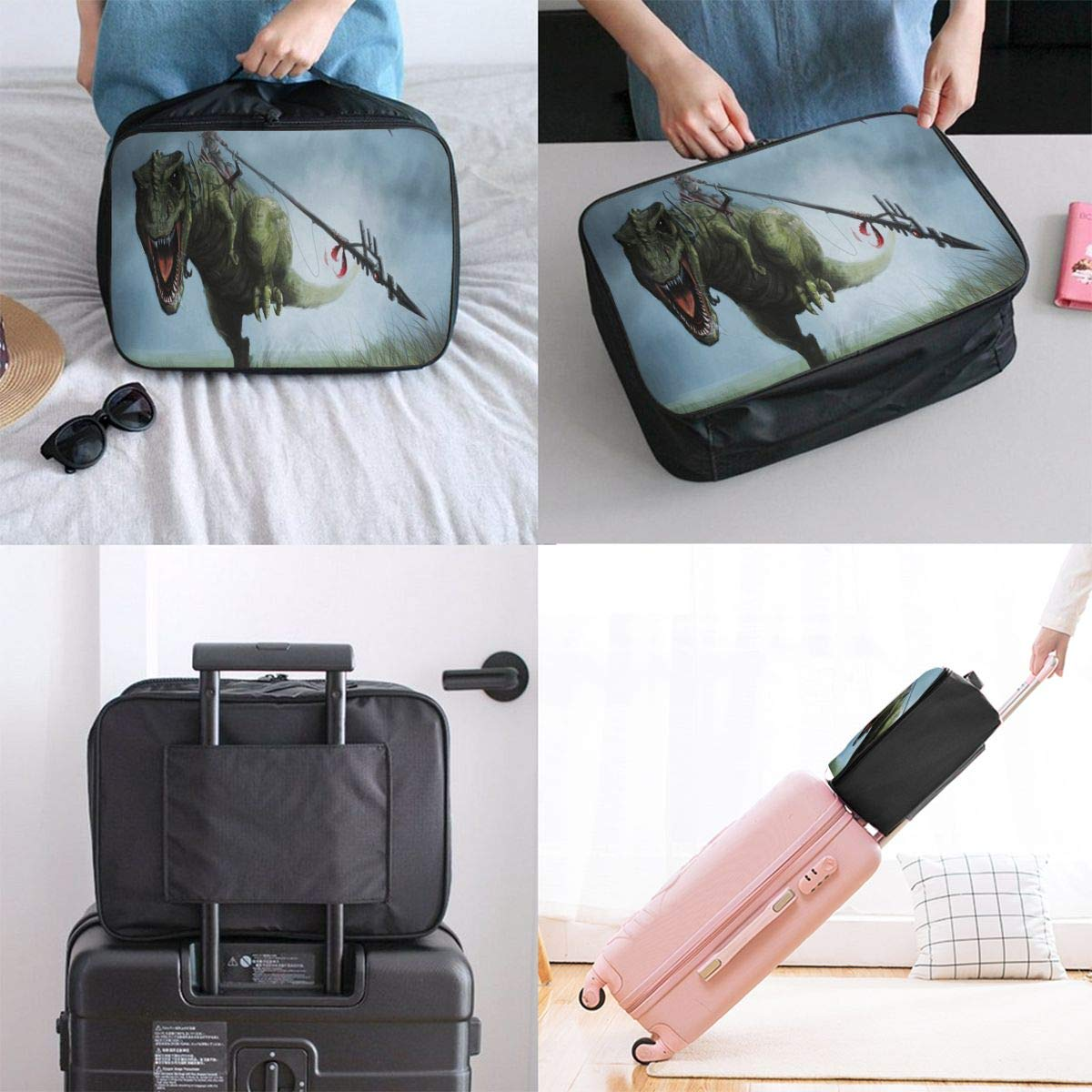 Travel Bags Dinosaur Picture Portable Tote Trolley Handle Luggage Bag