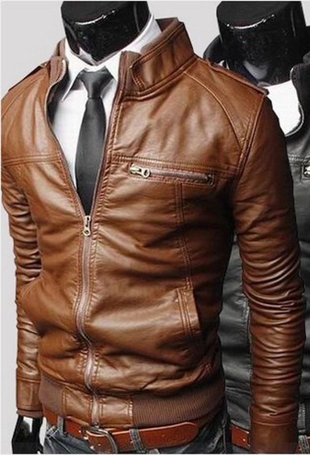 Amazon.com : Jacket Men Leather Jacket Collar Men's Leather ...