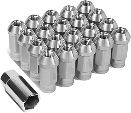 DNA MOTORING LN-T7-009-15-RD Red J2 Engineering 7075 Aluminum M12X1.5 20Pcs L 60mm Open End Lug Nut w//Socket Adapter