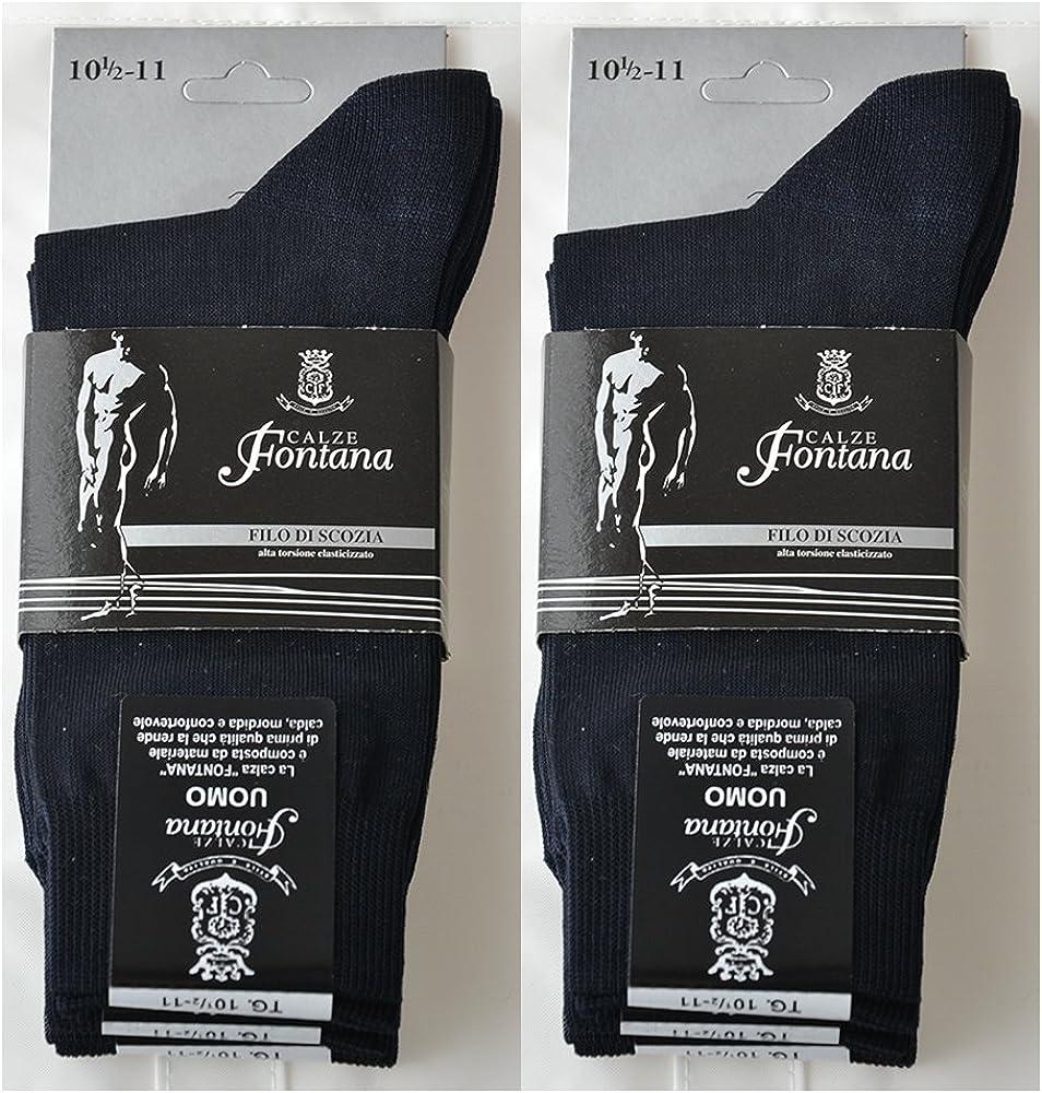 confortevoli e rinforzate su punta e tallone 8 paia di calze CORTE in puro cotone Filo di Scozia elasticizzate Prodotto Italiano. Fontana Calze