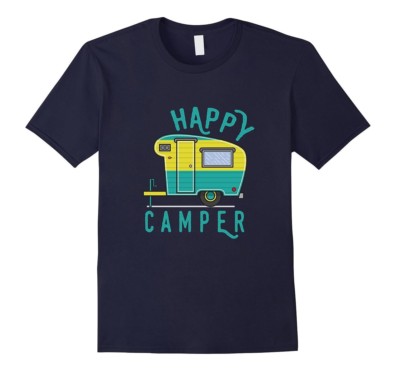 Happy Camper Camping Hiking Retro Trailer RV T-Shirt-Vaci