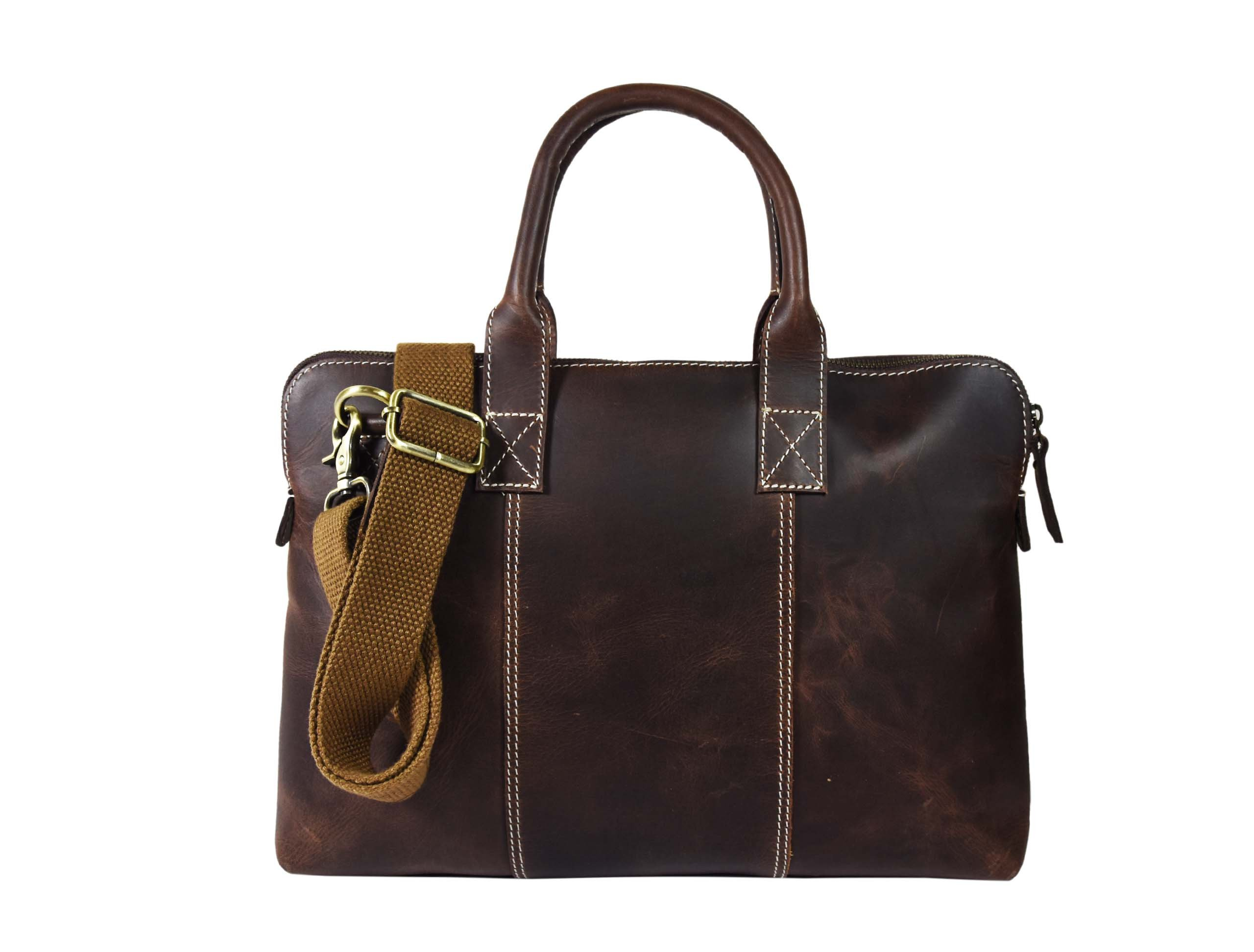 13 Inch Business Work Briefcase Carry Laptop Computer Book Handmade Rugged & Distressed ~ Everyday Office College School, By Aaron Leather (Dark Brown)