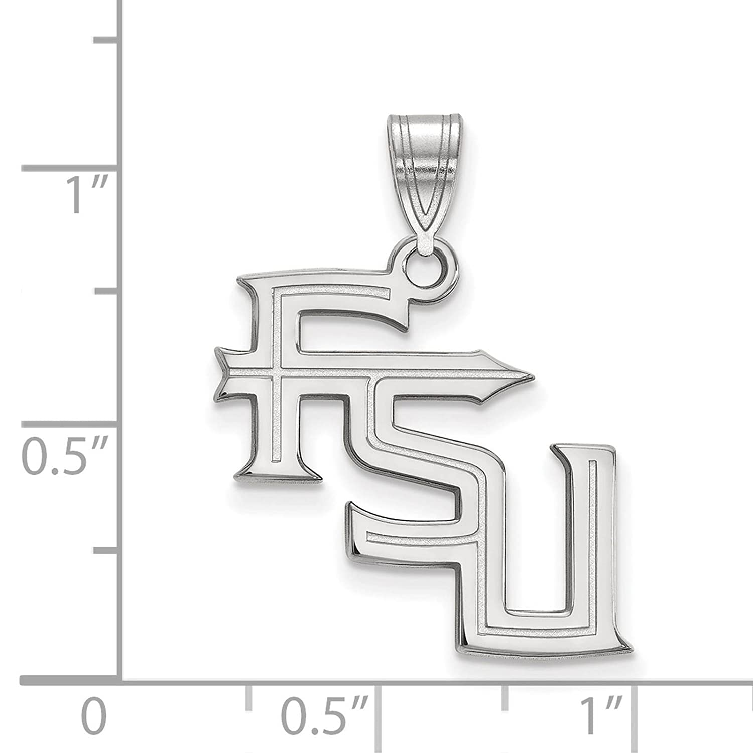 925 Sterling Silver Rhodium-plated Laser-cut Florida State University Large Pendant