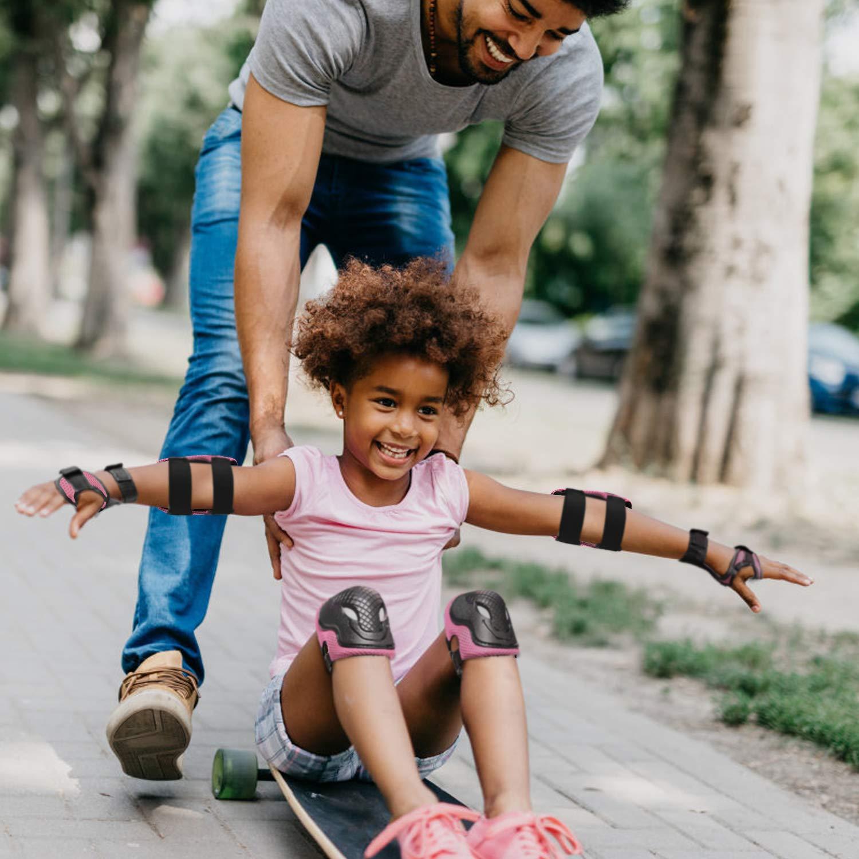 Rosa,6pcs ValuTalks Juego de Protecciones Infantil,Protecci/ón Skate Infantil Rodilleras Coderas Mu/ñequeras para Patinaje Ciclismo Monopat/ín Bicicleta Skate