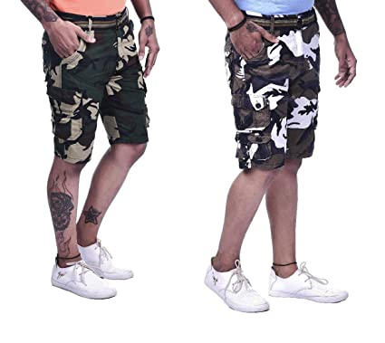 8060f06f16 Timbre Mens 9 Pocket Army Shorts Camouflage/Military Print Shorts (Pack of  2): Amazon.in: Clothing & Accessories
