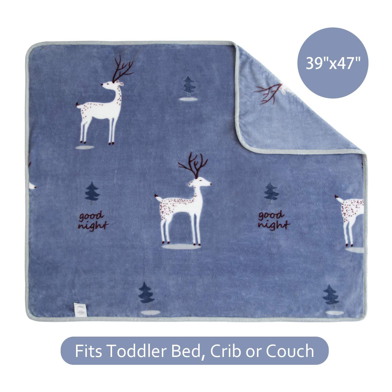 100/% Microfiber Polyester TILLYOU Breathable Toddler Fleece Blanket Plush Baby Blanket for Boys Girls Kids Bed Crib Blanket Super Soft Warm Cozy Fuzzy Daycare Nap Blanket 39x47 Navy Deer