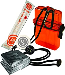 UST Watertight Survival Kit 1.0 with Durable, Lightweight Construction, Survival Blanket and Emergency Tools while Camping, Hiking and Outdoor Survival
