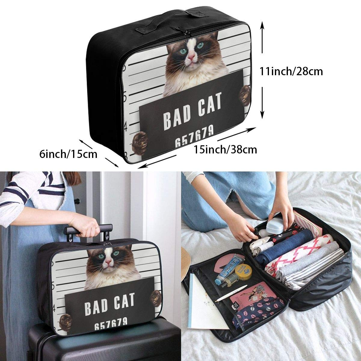 Funny Bad Grumpy Cat Travel Lightweight Waterproof Folding Storage Portable Luggage Duffle Tote Bag Large Capacity In Trolley Handle Bags 6x11x15 Inch