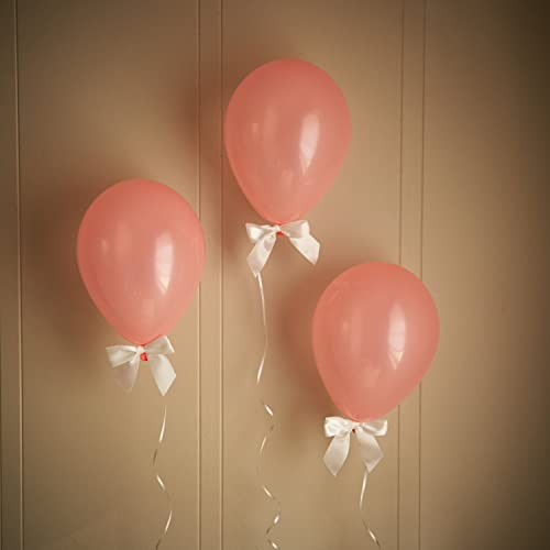 Coral Baby Shower Decorations. Light Coral Balloons With White Bows 8CT +  Curling Ribbon.