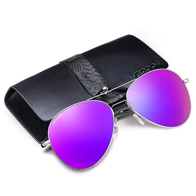 VEGOOS Gafas de sol Polarizadas Hombre Mujer Aviador de Conducción con el Caso UV 400 Protección (Púrpura)