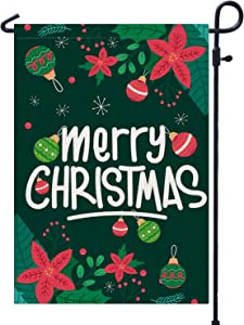 PAMBO Merry Christmas Garden Flags 12x18 Double Sided Burlap - Christmas Garden Flag for Yard Outside Decoration
