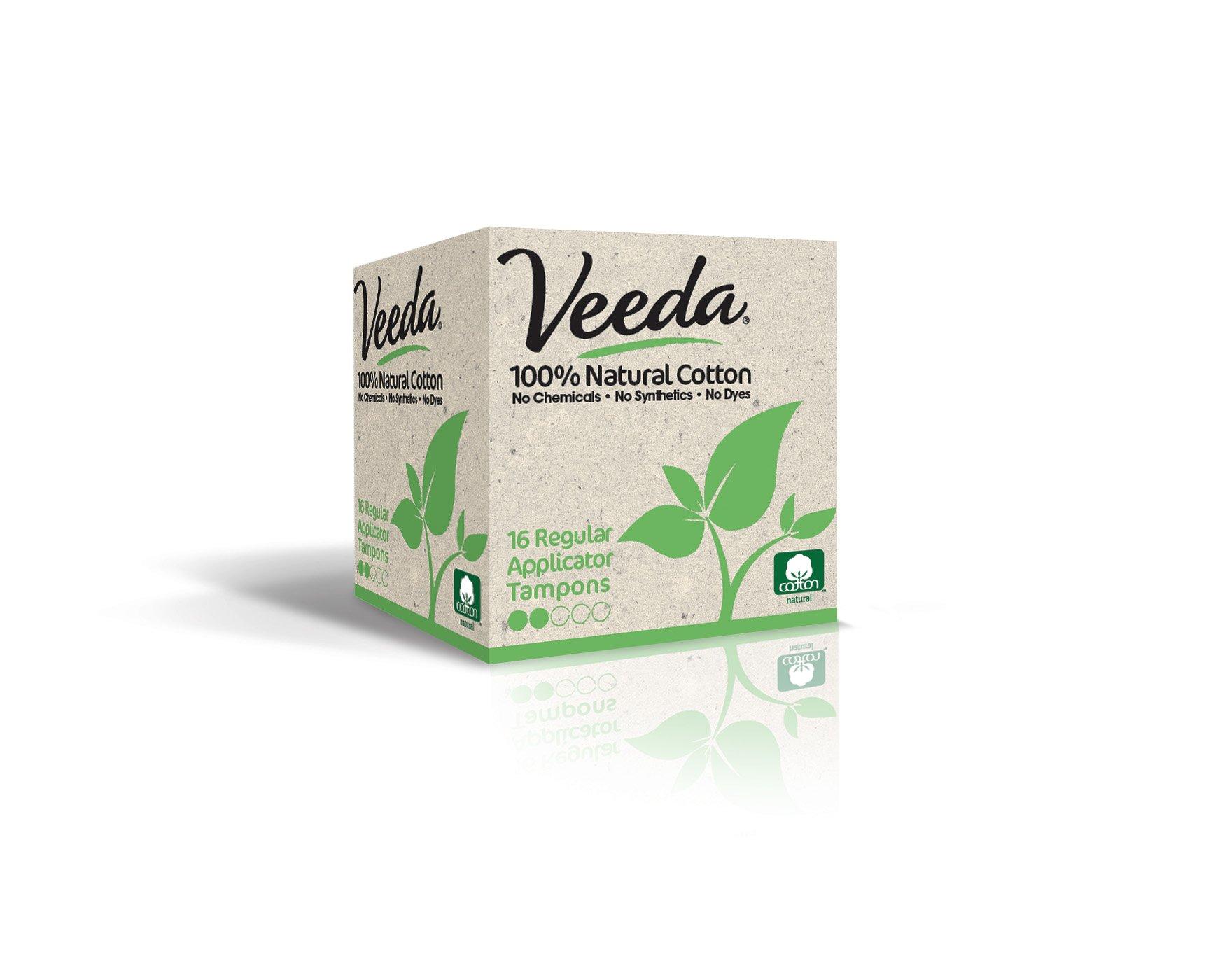 Veeda Natural All-Cotton Tampons, Regular, Compact Applicator, 16 Count