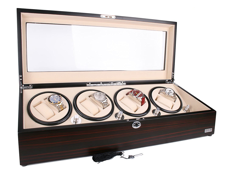 AXIS® Luxus Ebenholz Automatik 8 Uhrenbeweger NEU mit 12 Uhren Aufbewahrung