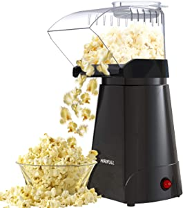 HIRIFULL 1200W Hot Air Popcorn Poppers Machine, Home Electric Popcorn Maker with Measuring Cup, 3 Min Fast Popping, ETL Certified, BPA Free, No Oil, DIY Flavors, Great for Home Movie,Party,Watching TV