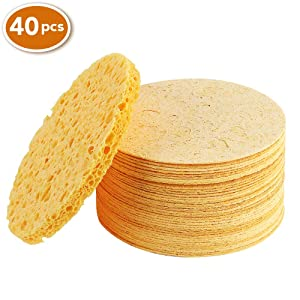 Facial Sponges, Compressed Natural Cellulose Facial Sponge for Facial Cleansing Facial Exfoliating Facial SPA Massage (40 Count)