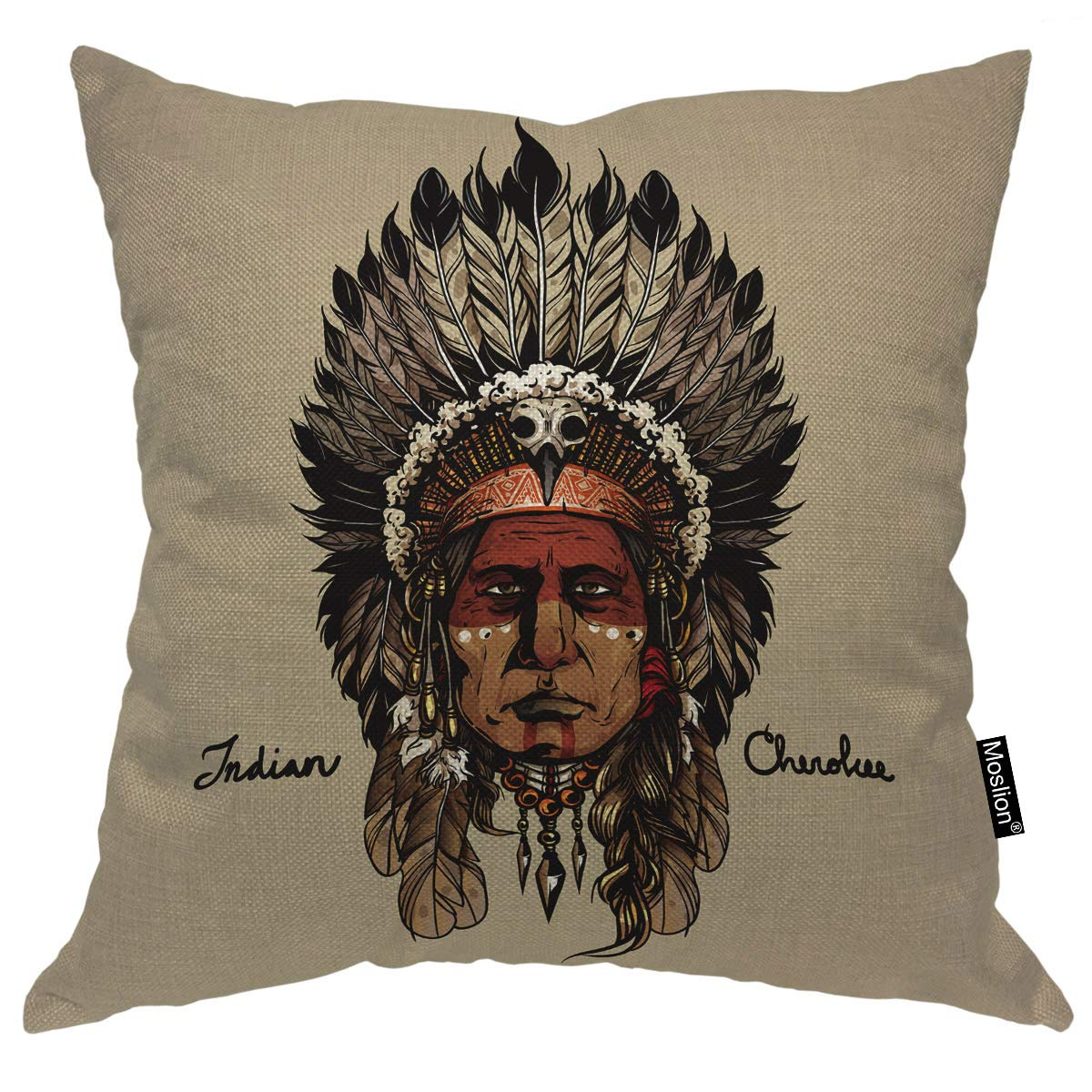 Moslion Indian Cherokee Throw Pillow Cover Warrior Native American Art Culture Chief Hand Drawing Head 20x20 Inch Square Pillow Case Cushion Cover for Home Car Decorative Cotton Linen