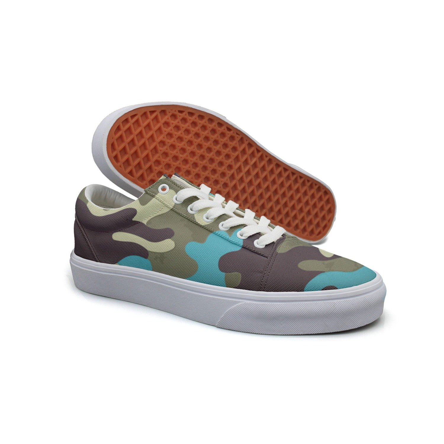 Ouxioaz Womens Skateboarding Shoes Canvas Colorful Camouflage Sport Sneaker