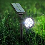 [2016 Upgraded] LED Solar Spot Lights Solar Powered Garden Outdoor Waterproof Wall Light Adjustable Spotlight Outside Night Lights Security Lighting Path Lights, In-ground Lights, Landscape Light for Garden, Fence, Tree, Patio, Deck, Yard, Lawn, Pathway, Driveway, Stairs, Pool Area, Home