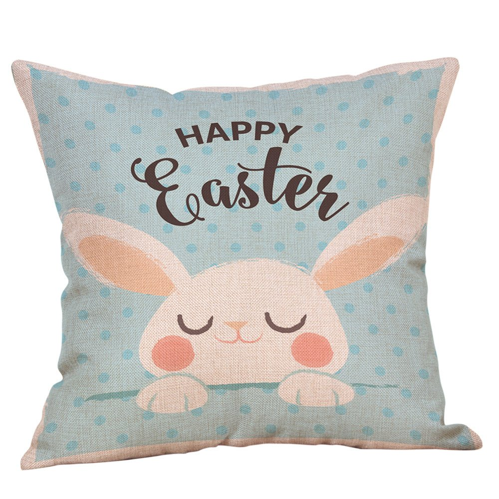 18'' x 18'' Happy Easter Throw Pillow Covers Rabbit Eggs Cartoon Printed Pillowcases Spring Holiday Bunny Cushion Cases for Home Decor Colored Creative Design Decoration (L)