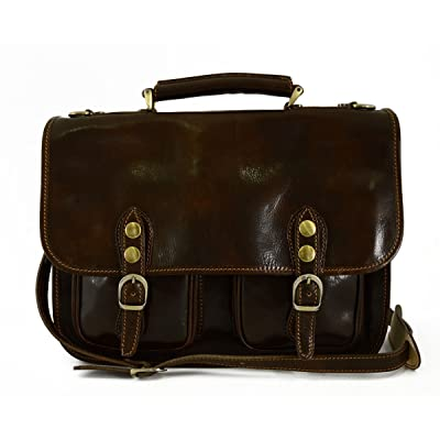 Business Briefcase In Genuine Leather 2 Compartments Mod. Small Color Dark Brown