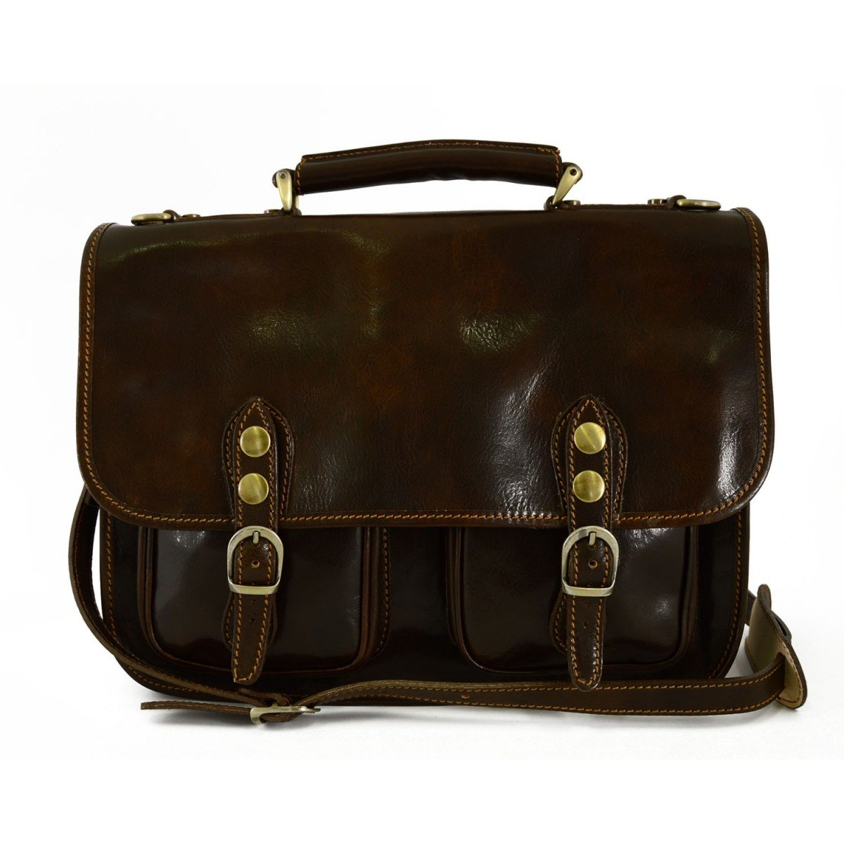 Made In Italy Business Briefcase In Genuine Leather 2 Compartments Mod. Small Color Dark Brown - Business Bag   B01CHHYV3K