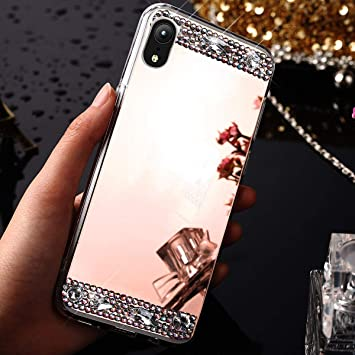 coque iphone xr miroir or rose