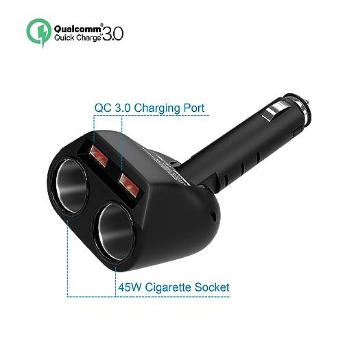 Cargador de Coche Cateck Quick Charge 3.0, Adaptador USB Doble Divisor 2 Cigarrillos Encendedor 12V/24V Adaptador de energía para iPhones, iPad, ...