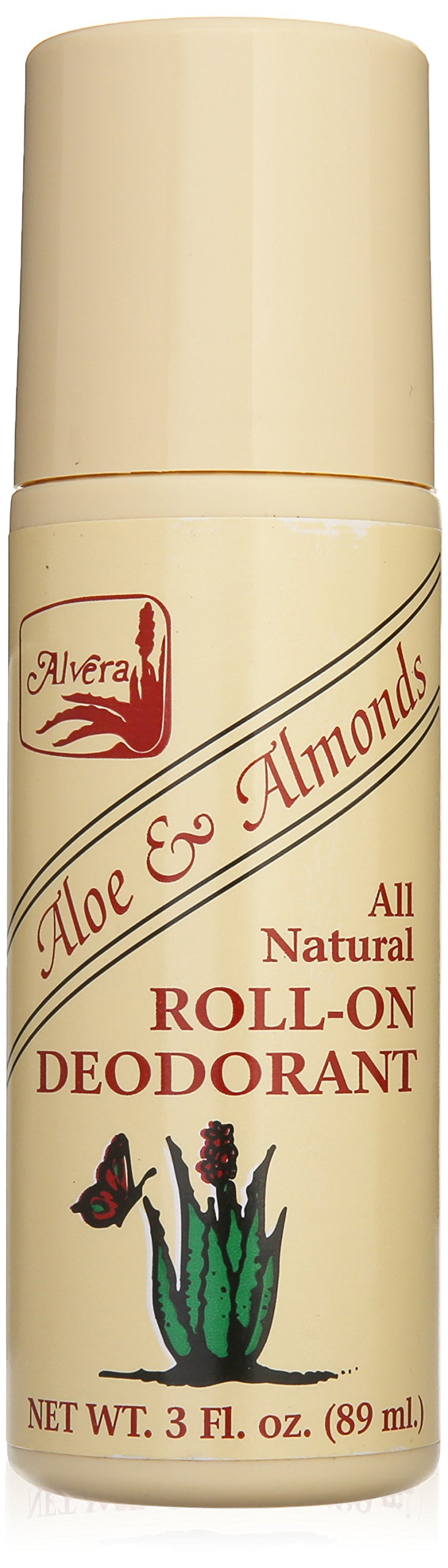 Alvera All Natural Roll-on Deodorant Aloe and Almonds - 3 Oz, 3 Fluid Ounce by Alvera (Image #1)