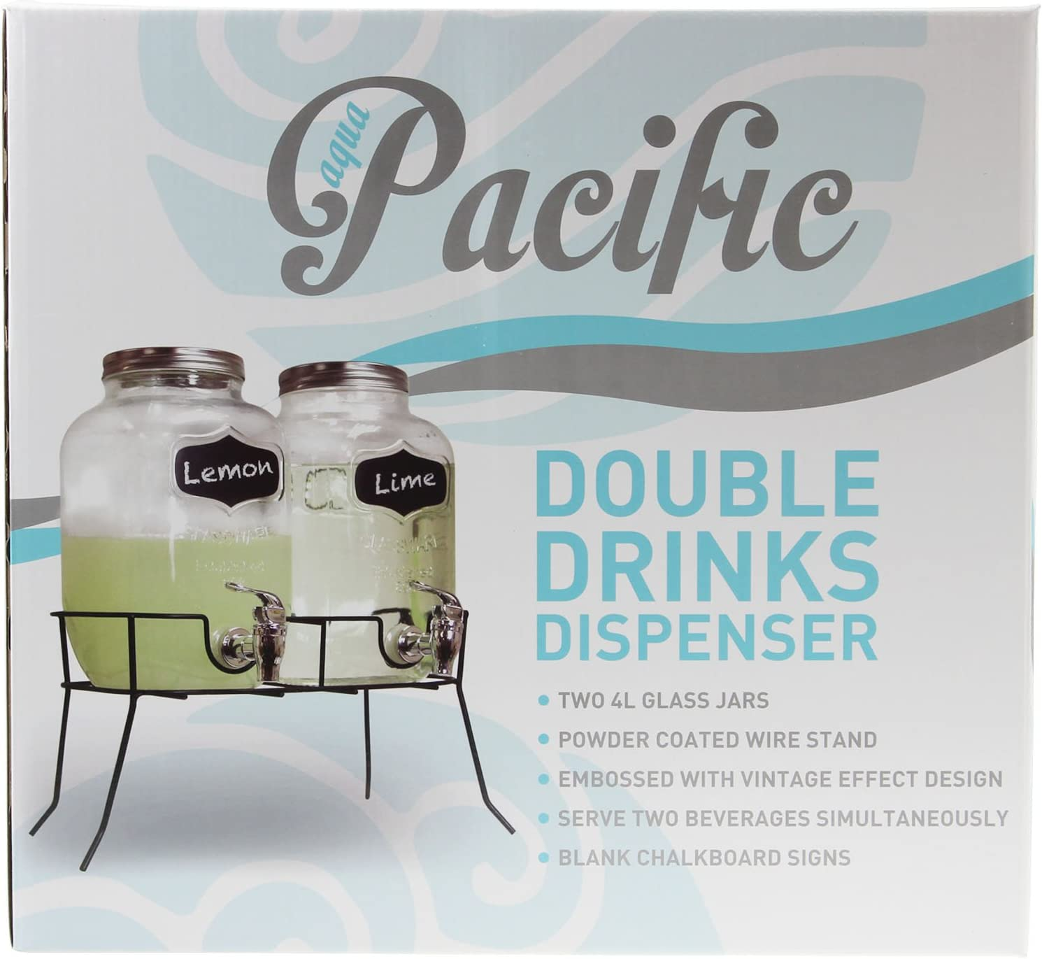 Double 4L Glass Drinks Dispenser with taps on a metal stand
