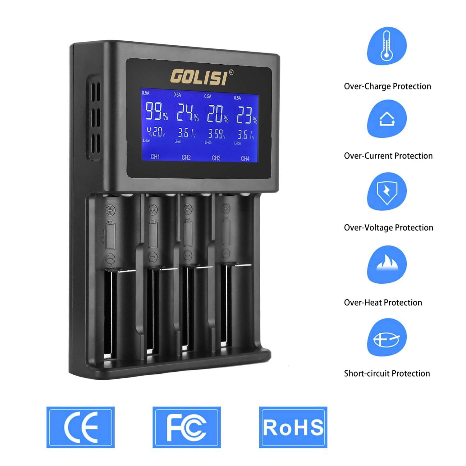 Golisi S4 20a Smart Charger With Large Lcd Display And Amazonco Simple Nicd Battery Electronic Circuits Electronics